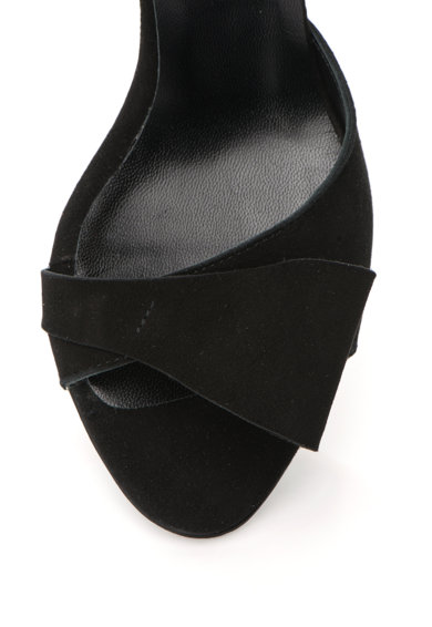 Mihaela Glavan Sandale de piele intoarsa cu toc inalt si bareta Femei