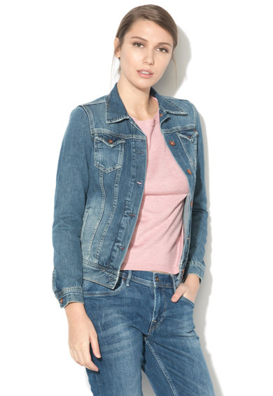 Pepe Jeans London Jacheta din denim cu aspect decolorat Thrift Femei