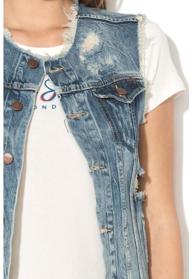 Pepe Jeans London Vesta din denim cu aspect deteriorat si terminatii franjurate Femei