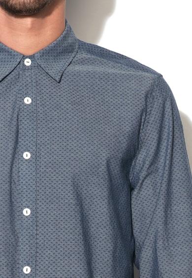 Mustang Синя вталена риза на ситна шарка Мъже