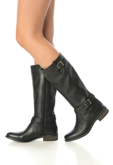 Pepe Jeans London Cizme negre de piele cu barete cu catarame decorative Femei