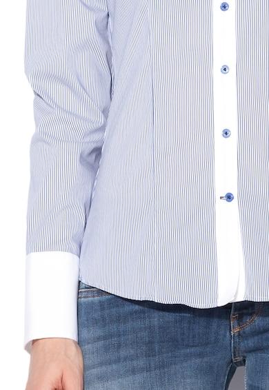 Vincenzo Boretti Camasa slim fit alb cu albastru inchis in dungi Femei