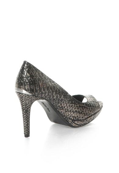 Calvin Klein Pantofi negru cu argintiu de piele cu model sarpe Pollina Femei