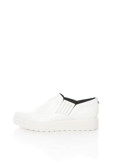 Calvin Klein Pantofi flatform slip-on albi de piele Vikki Femei