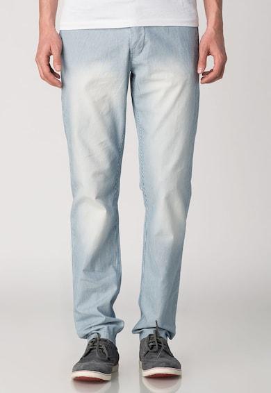 Pepe Jeans London Pantaloni alb cu albastru in dungi cu aspect decolorat Irons Barbati