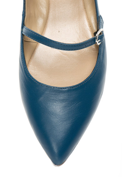 Oakoui Balerini albastru petrol de piele cu barete multiple Femei