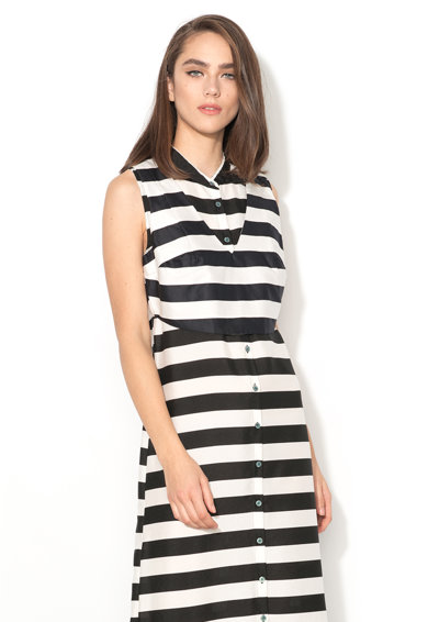 Silvian Heach Collection Rochie maxi negru si alb cu top crop detasabil Chietino Femei