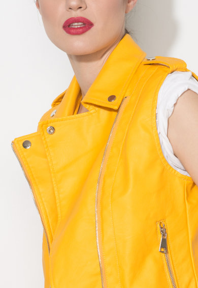 Zee Lane Denim Vesta biker galben imperial de piele sintetica Femei