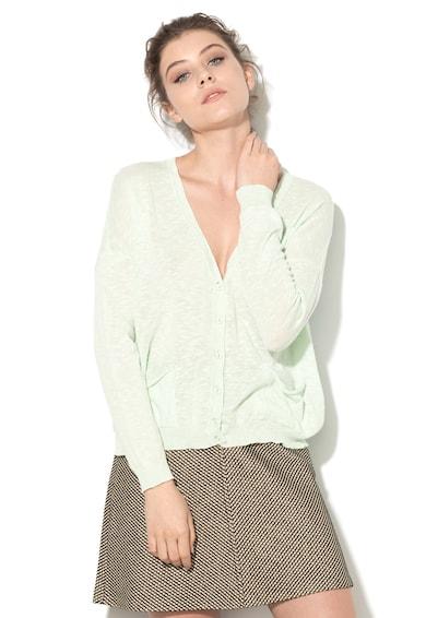 United Colors of Benetton Cardigan verde menta tricotat fin cu buzunare Femei