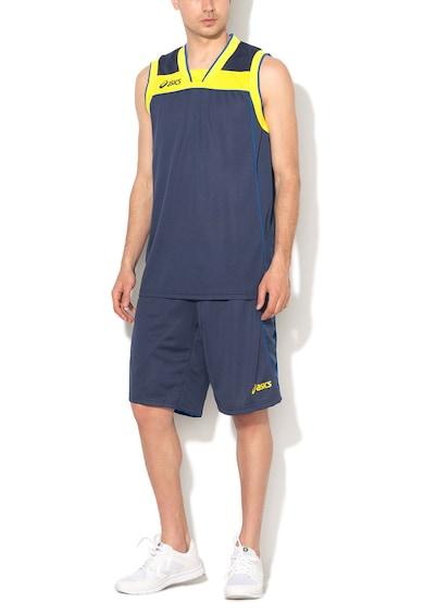 Asics Set sport de top si bermude bleumarin cu galben XXL Barbati