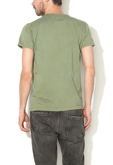 Converse Tricou verde inchis si alb cu decolteu la baza gatului Barbati