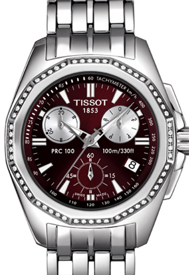 Tissot Ceas cronograf argintiu cu 60 de diamante PRC 100 Femei