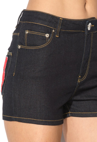 Love Moschino Pantaloni scurti elastici albastru ultramarin din denim Femei