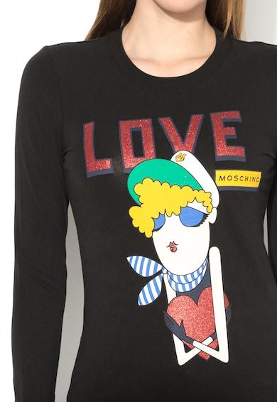 Love Moschino Bluza neagra cu imprimeu Femei