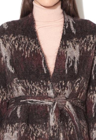 Stefanel Cardigan negru cu gri cu buzunare Femei