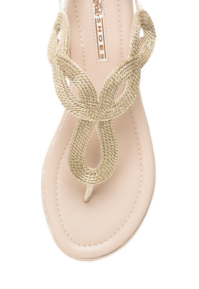 Buffalo Sandale aurii cu bareta separatoare si aspect impletit Femei