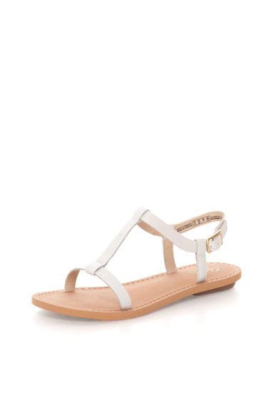 Clarks Sandale albe de piele cu bareta T Voyage Hop Femei