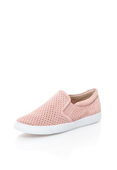 Clarks Pantofi slip-on roz prafuit din piele intoarsa Glove Femei