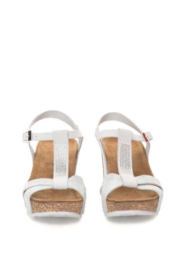 Zee Lane Sandale wedge alb cu argintiu de piele nabuc Femei