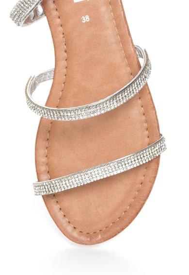 Oakoui Sandale gladiator argintii cu bareta infasurabila si strasuri Femei