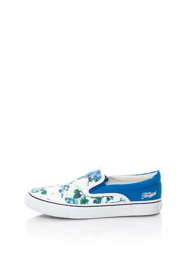 Fiorucci Pantofi slip-on alb cu albastru cu imprimeu Femei