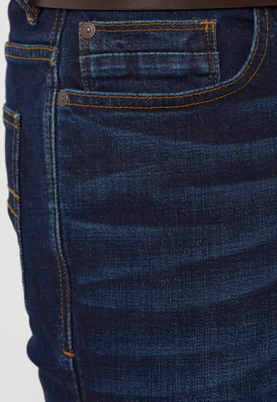 NEXT Jeansi slim fit albastru inchis cu o curea maro Barbati
