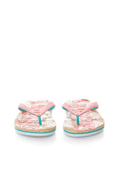 SUPERDRY Papuci flip-flop roz neon cu verde veronese Femei