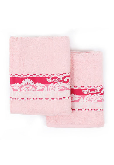 Leunelle Set de prosoape roz cu fucsia si design floral Yaprak - 2 piese Femei