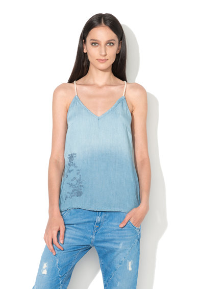 Pepe Jeans London Top albastru in degrade din chambray Isla Femei