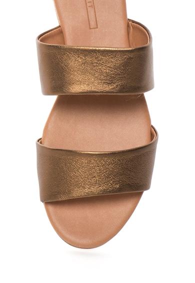 Esprit Papuci maro bronz de piele Basime Femei
