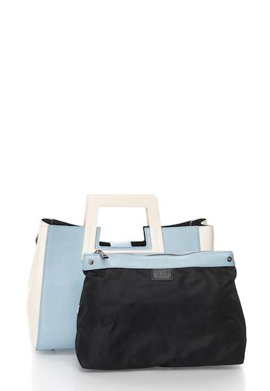 Zee Lane Geanta albastru azur si crem de piele cu design minimalist Femei
