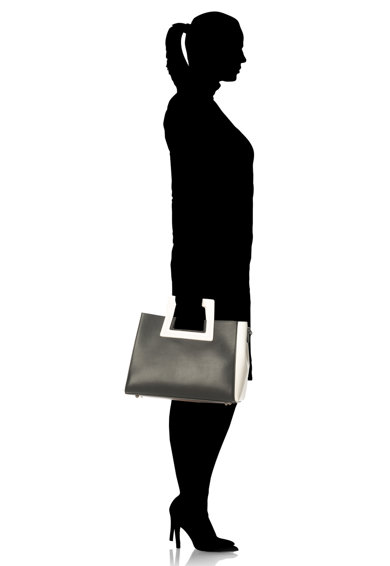 Zee Lane Geanta negru cu alb de piele cu design minimalist Femei