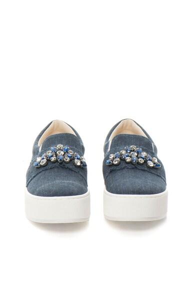 Liu Jo Pantofi slip-on flatform bleumarin de denim Femei