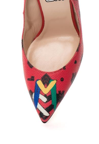 Love Moschino Pantofi stiletto rosii cu imprimeu multicolor Femei