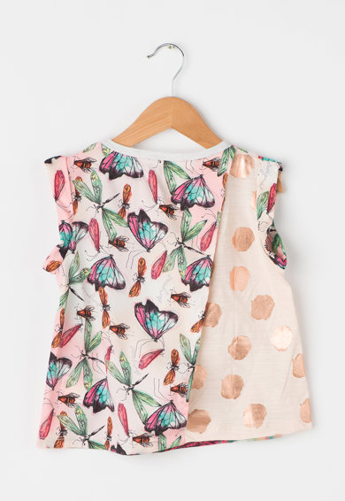 DESIGUAL Tricou alb melange cu roz piersica pal Florida Fete
