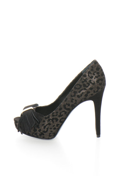Guess Pantofi peep-toe negri cu animal print Femei