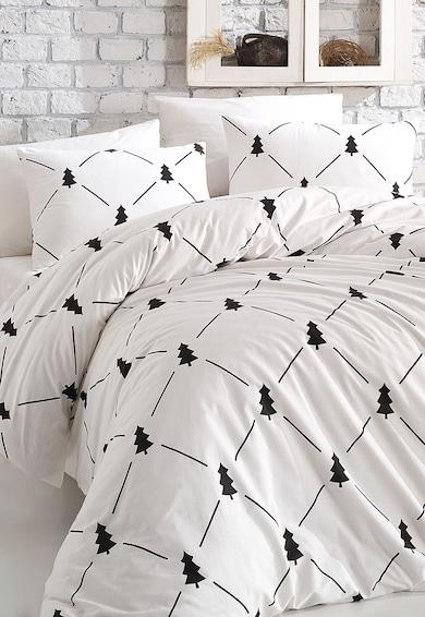 Set lenjerie de pat alb din bumbac ranforce cu imprimeu