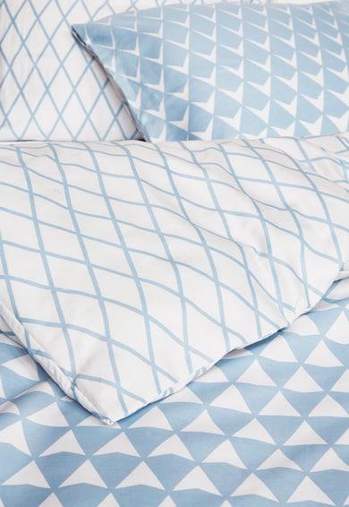 ESPRIT home Set de pat cu model geometric Mina, Albastru/Alb Femei