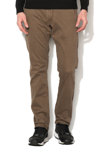 GUESS JEANS Pantaloni maro cu model grafic discret Myron Barbati