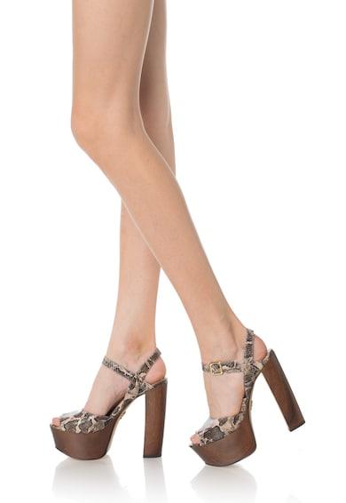 Guess Sandale in nuante de maro si bej de piele Femei