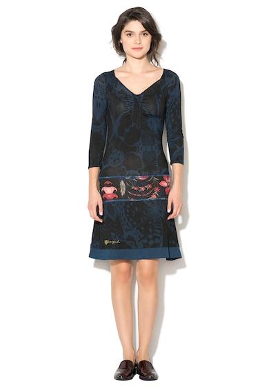 DESIGUAL Rochie albastru cu negru cu imprimeu grafic Sloan Femei