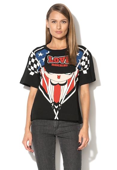 Love Moschino Tricou negru cu imprimeu cu Betty Boop Femei