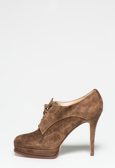 Casadei Pantofi maro inchis din piele intoarsa cu sireturi Femei