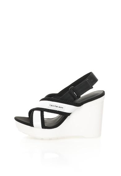 Calvin Klein Jeans Sandale wedge alb cu negru Lizzie Femei