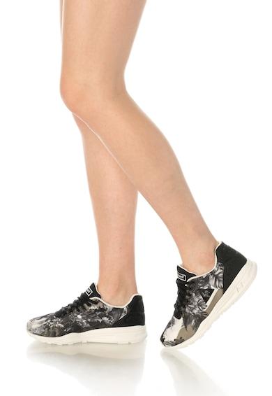 Le Coq Sportif Pantofi sport negru si nuante de gri cu model floral R9XX Femei
