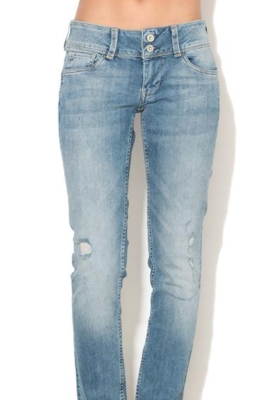Pepe Jeans London Blugi slim fit cu talie joasa si aspect deteriorat Vera Femei