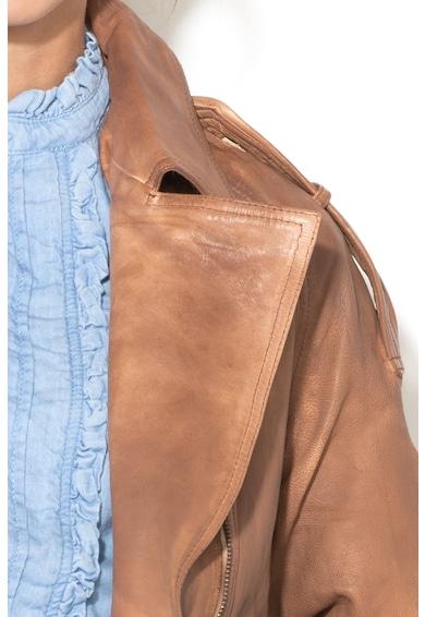 Pepe Jeans London Jacheta de piele cu maneci raglan si inchidere asimetrica cu fermoar Verdi Femei