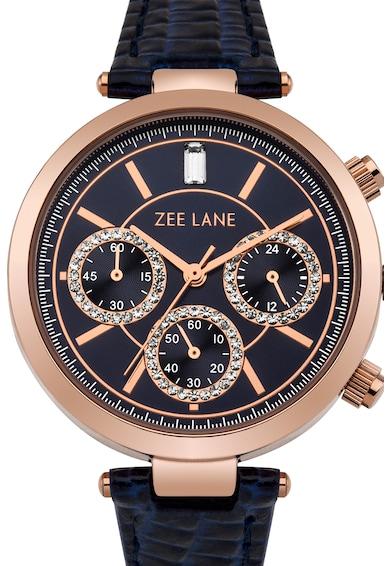 Zee Lane Collection Ceas cronograf cu o curea de piele, Bleumarin Femei