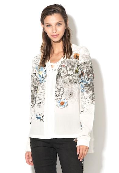 DESIGUAL Bluza tip tunica cu imprimeu si detaliu cu siret Jyana Femei