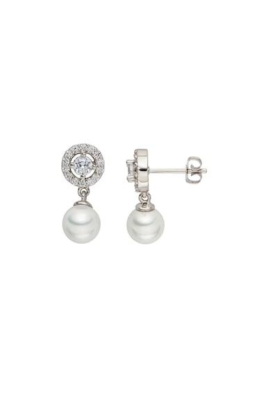 Zee Lane Cercei drop cu tija cu zirconia cubica si perla sintetica Femei